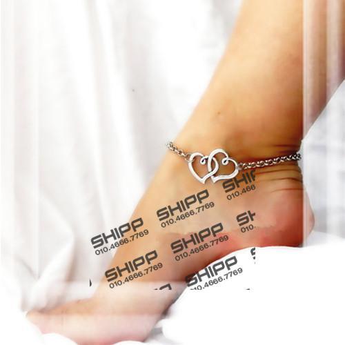 심플 하트모양 발찌 더블 사랑 심장 발목 팔찌 맨발로 샌들 여성 비치 발 보석 다리 체인 액세서리 Tornozeleira