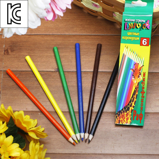 6색 칼라 색연필/학교납품용 미술학원판촉용 학원판