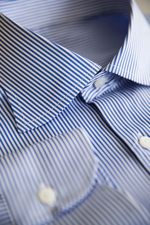벌브셔츠 코마 면 100수 블루 런던스트라이프 네이플스카라셔츠