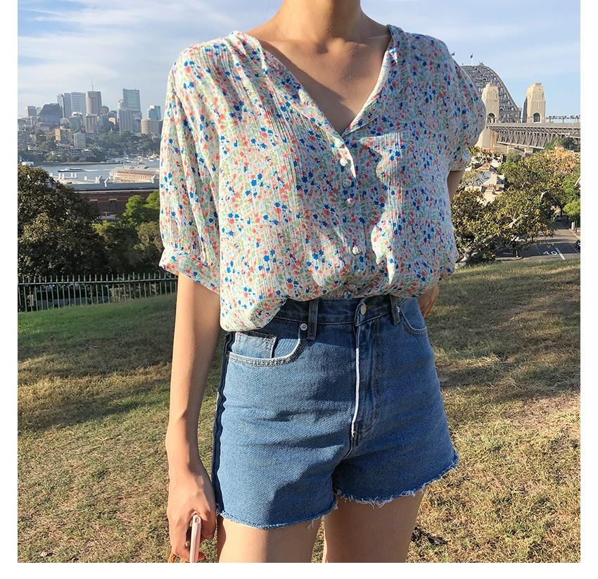 잔꽃 플라워 반팔 블라우스 - 데일리마리, 25,500원, 상의, 블라우스/셔츠