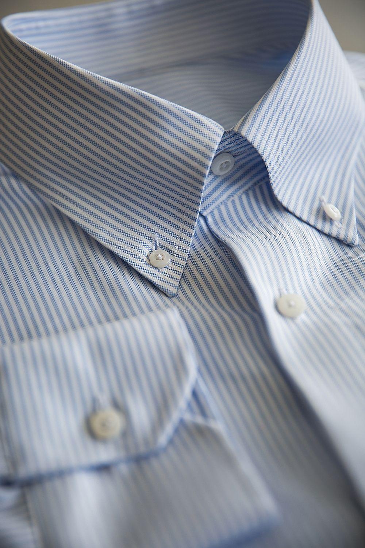 벌브셔츠  로얄옥스포드 스카이블루 스트라이프 버튼다운셔츠