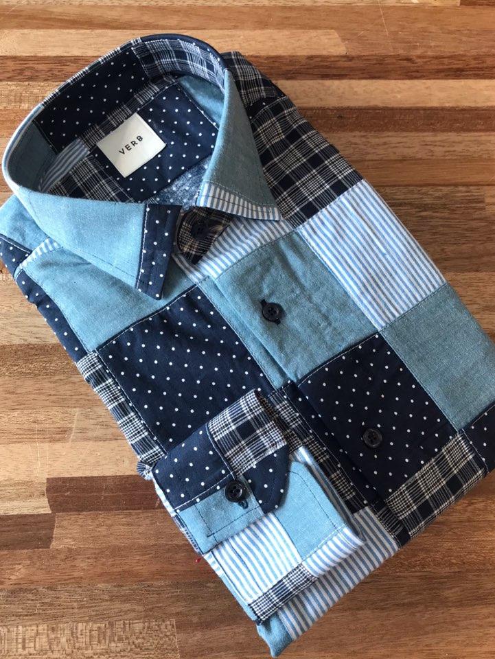 벌브 블루 로얄 패치워크 셔츠