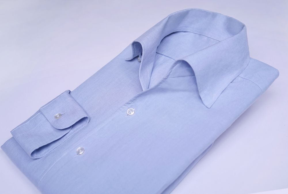 벌브 블루 아마사 린넨 원피스카라 셔츠