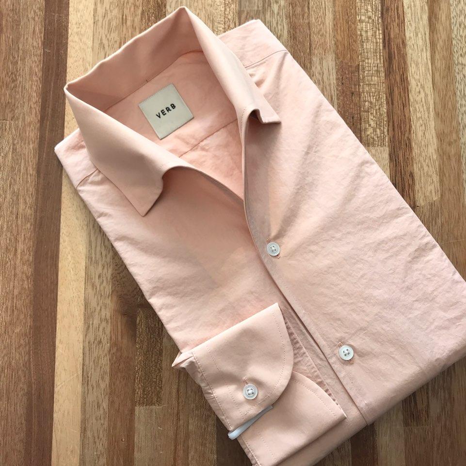 벌브 면/나일론 핑크 원피스카라셔츠