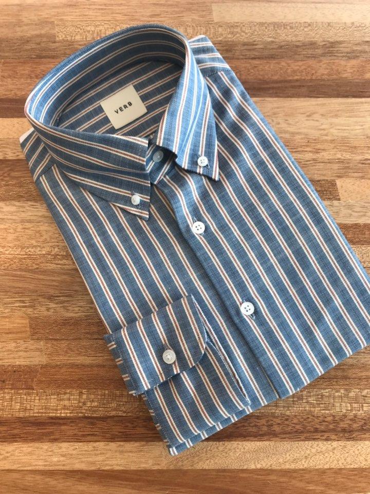 벌브셔츠 빈티지 레드/블루 스트라이프 버튼다운셔츠
