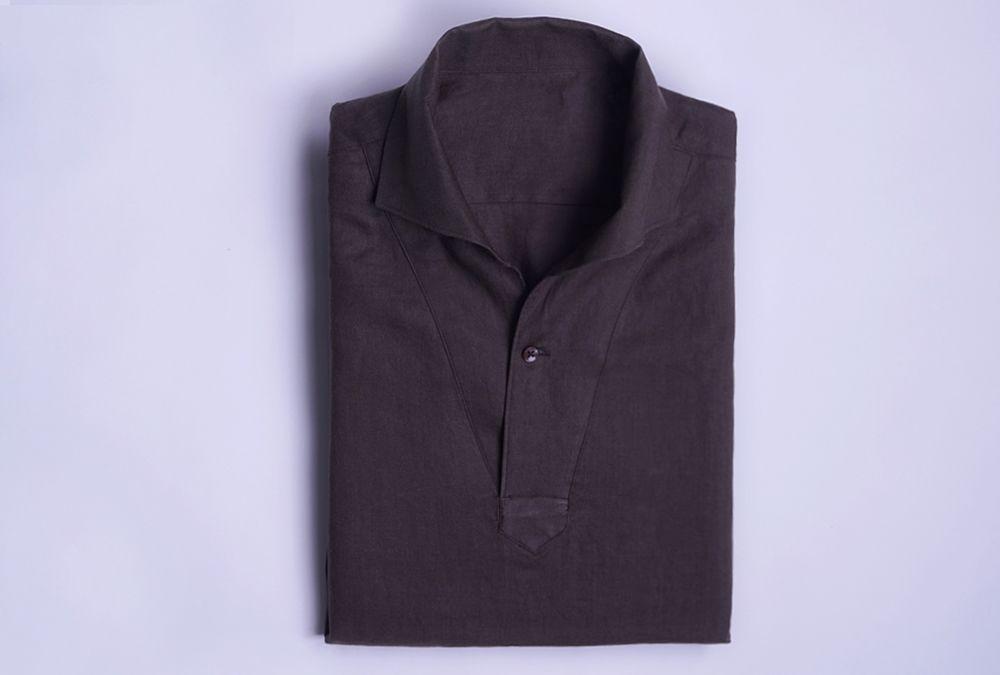 벌브셔츠 아마사 린넨 브라운 클래식 풀오버 셔츠