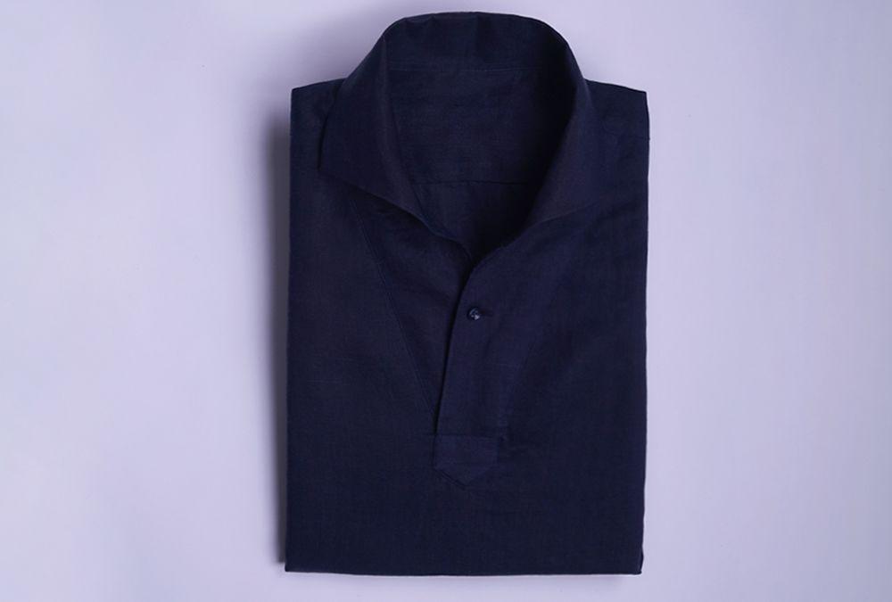 벌브셔츠 아마사 린넨 네이비 클래식 풀오버 셔츠