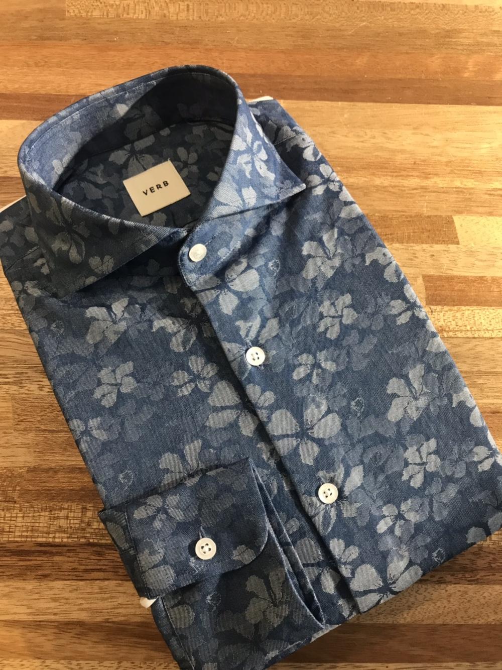 벌브셔츠 샴브레이 플라워 셔츠