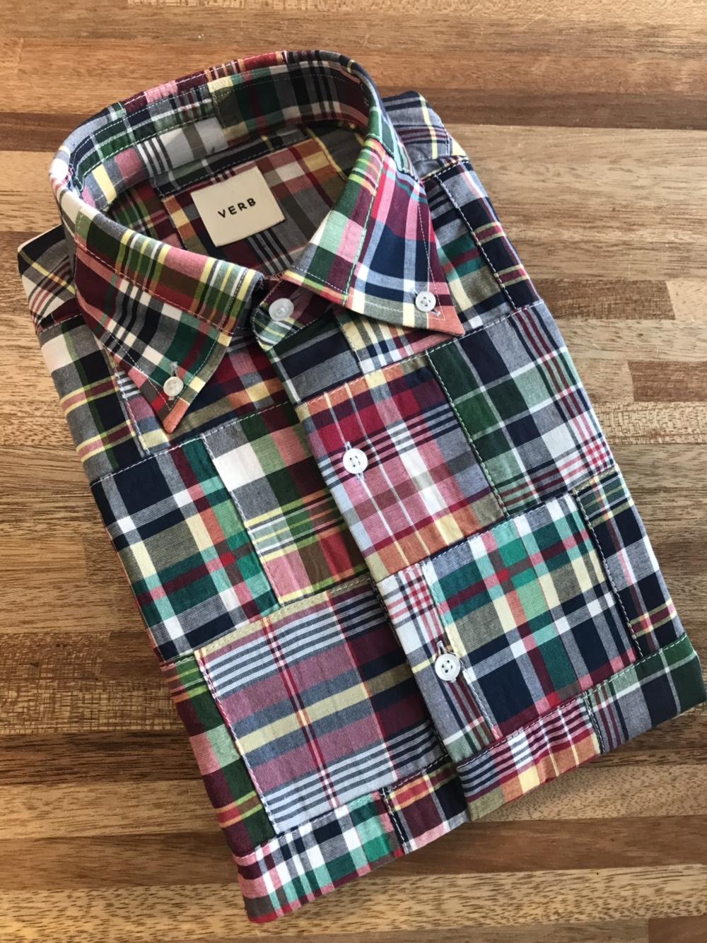 벌브셔츠 패치워크 버튼다운셔츠