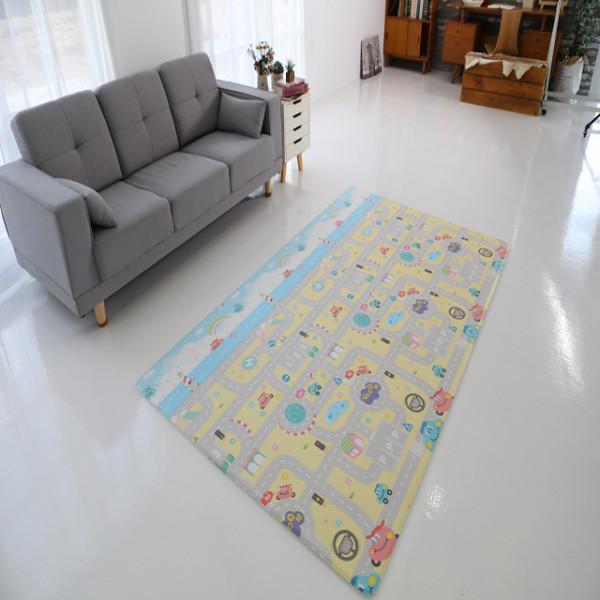 김포시 사회적경제마켓,늘디딤 PVC 어린이 놀이방매트 양면 디자인 부릉부릉 유아매트