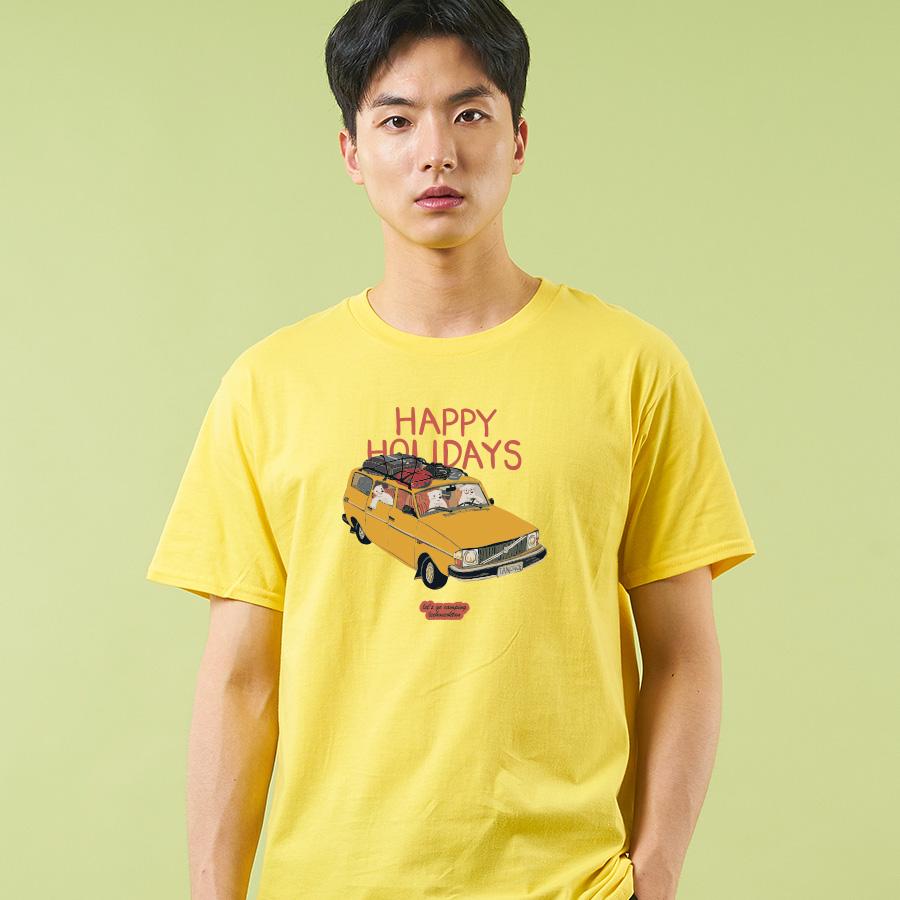 스마트 스토어에서 구입가능한 상품입니다. Happy Holiday .이호석탄 반팔 티셔츠