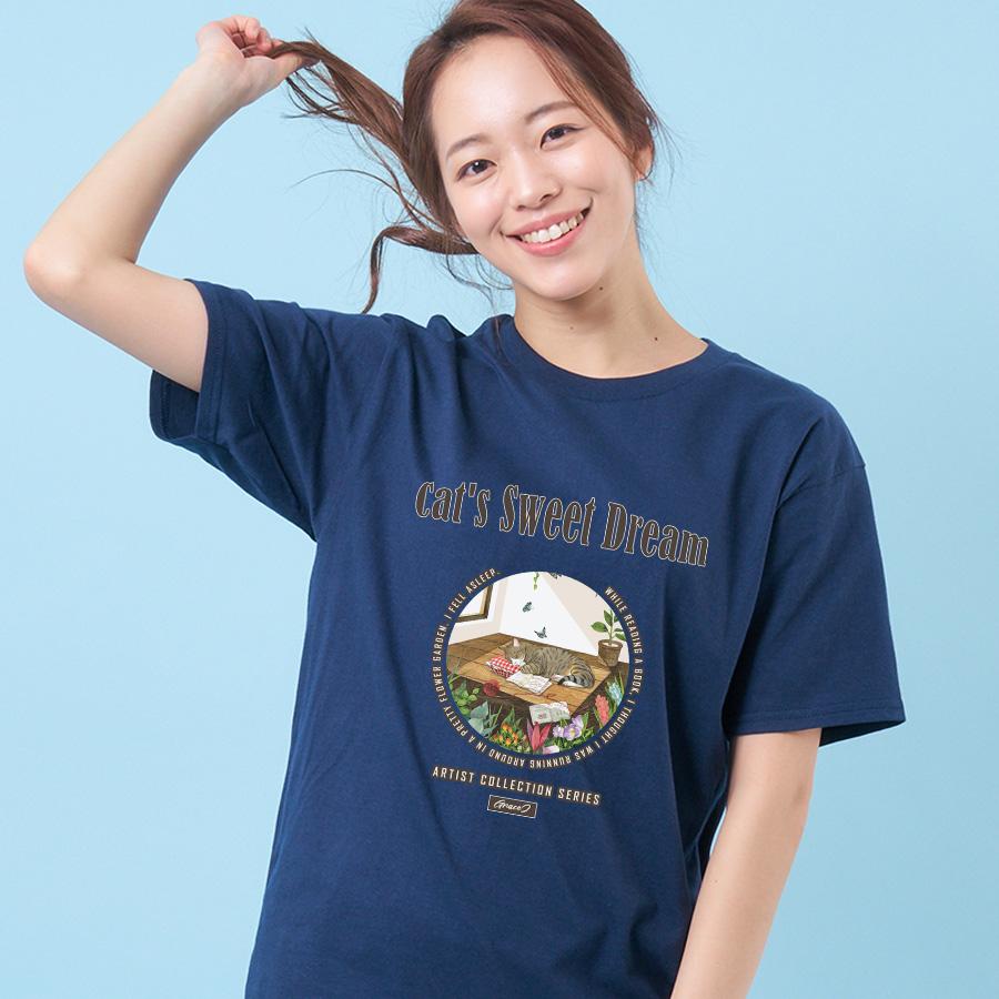 스마트 스토어에서 구입가능한 상품입니다. 고양이의 예쁜 꿈 .GraceJ 반팔 티셔츠