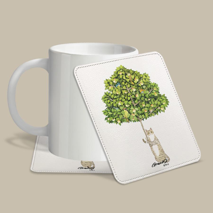 스마트 스토어에서 구입가능한 상품입니다. 나무우산.GraceJ (레더코스터) (컵 받침 2개 세트)