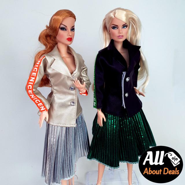 2종 레더자켓+플리츠스커트 세트 인형 옷 미미 쥬쥬 구체관절인형 포피파커 패션인형 : 미니메어