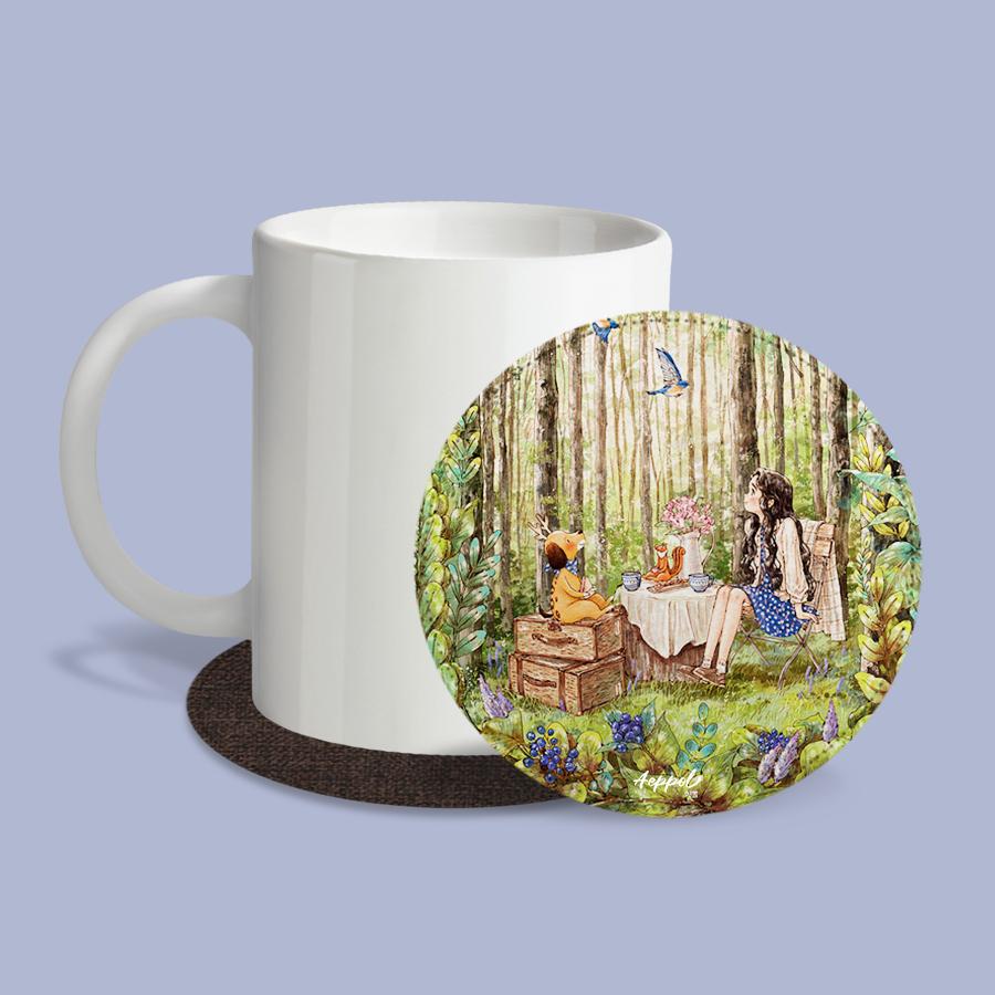 스마트 스토어에서 구입가능한 상품입니다. 숲속작은카페.애뽈 (레더코스터) (컵 받침 2개 세트)