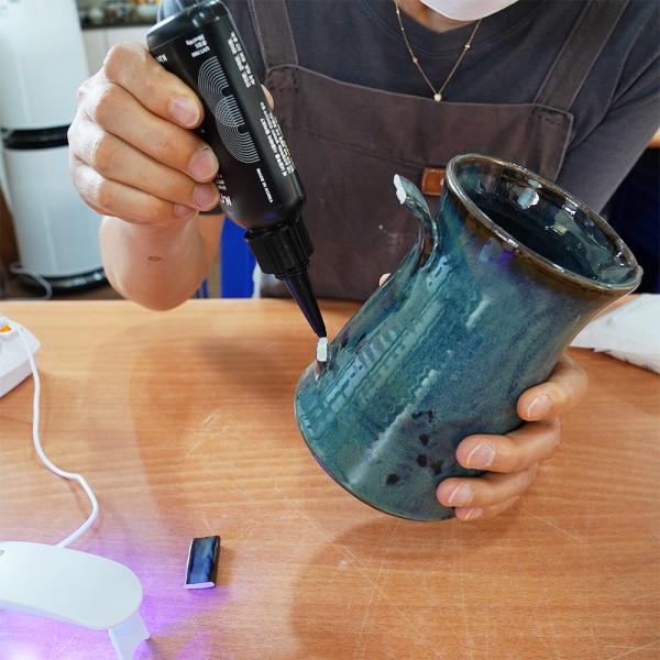 경기행복샵 경기도 중소기업우수제품홍보,빛과 열로 바로 구워 쓰는 하이브리드 UV접착제 엠글루 10g