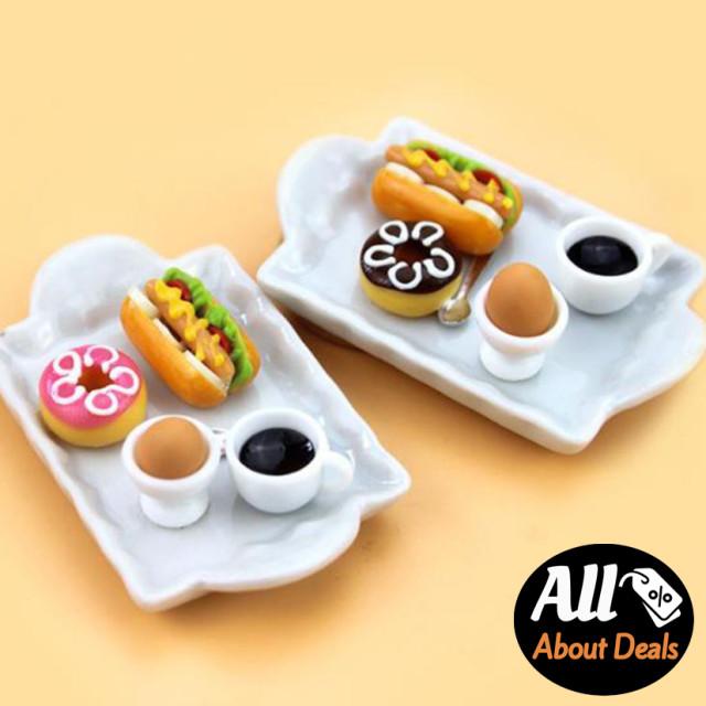 모닝 세트 미니어처 인형 소품 커피 도넛 핫도그 미니어쳐 장식 돌하우스 인테리어 : 미니메어