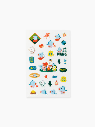 Friends BT21 MANG clear lines Green Planet Stickers