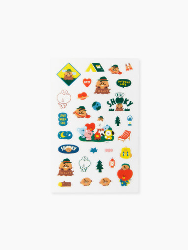 Friends BT21 SHOOKY clear lines Green Planet Stickers