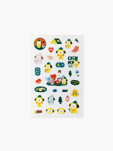Friends BT21 CHIMMY clear lines Green Planet Stickers