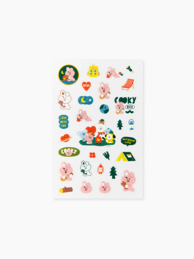 Friends BT21 COOKY clear lines Green Planet Stickers