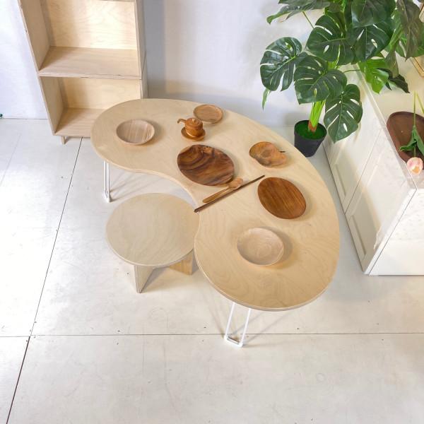 파주 상생마켓,오뉴 땅콩테이블 좌식 편안한 다기능 테이블 땅콩책상 인테리어 가구