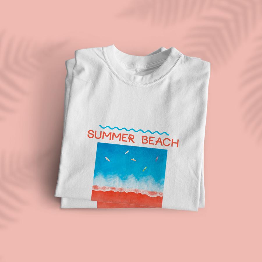 스마트 스토어에서 구입가능한 상품입니다. summer beach, 키니문 (반팔 라운드)