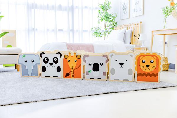 유아 어린이 동물 캐릭터 자작나무 책꽂이 스툴 원목 장난감 정리함 아기 의자 인테리어