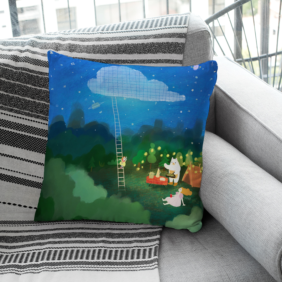 스마트 스토어에서 구입가능한 상품입니다. 밤의 캠핑, 꿈달콩 (아트 쿠션커버, 벨보아 쿠션커버)