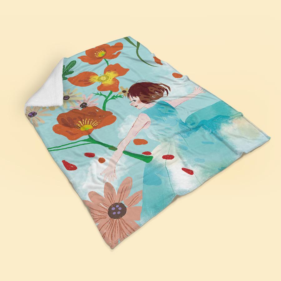 스마트 스토어에서 구입가능한 상품입니다. 꽃을 품다, 밀크티 (무릎담요, M - L 100x150cm)